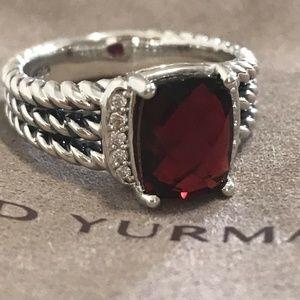 yurman garnet diamond petite wheaton size 7 ring